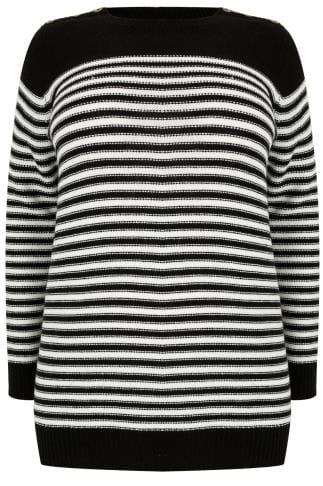 Black & White Textured Striped Jumper With Mock Button Fastenings