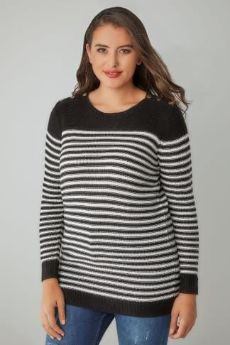 Jumpers Black & White Textured Striped Jumper With Mock Button Fastenings 124069