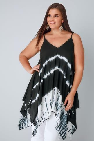 Longline Tops Black & White Tie Dye Cami Top With Hanky Hem 130097