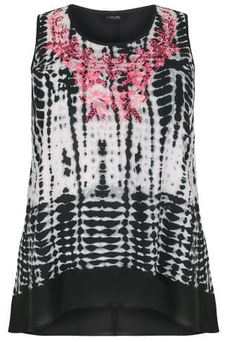 Black & White Tie Dye Print Sleeveless Top With Florescent Embroidery