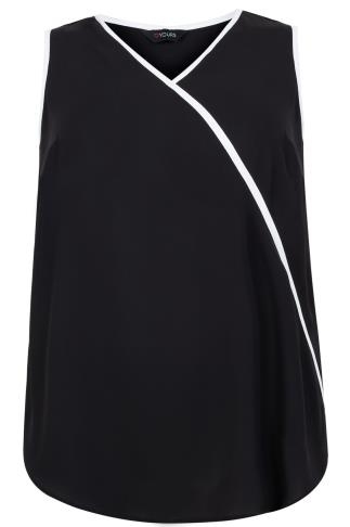 Black & White Trim V-Neck Sleeveless Chiffon Top
