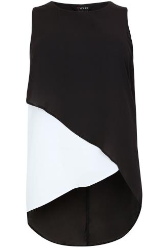 Black & White Wrap Front Sleeveless Top