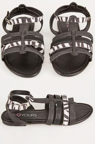 Black & White Zebra Print Gladiator Sandal In TRUE EEE Fit