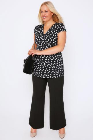 Black Wide Leg Trousers With Stab Stitch Detail 050152
