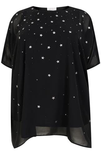 Black Woven Cape Blouse With Star & Sequin Embellishment