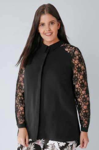 Black Woven Shirt With Lace Sleeves 156120