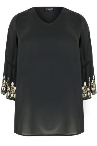 Black Woven Top With Embroidered Flute Sleeves