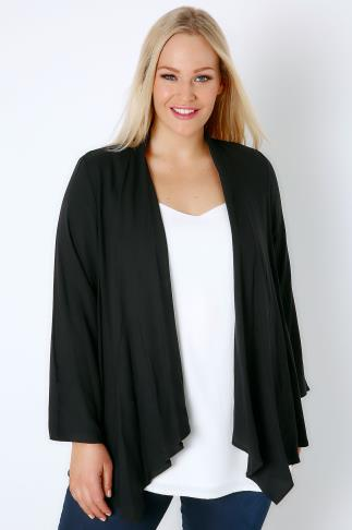 Black Woven Waterfall Cardigan