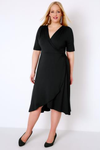 Black Dresses Black Wrap Dress With Short Sleeves 156091