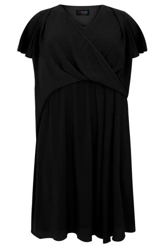 Black Wrap Front Midi Dress With Angel Sleeves
