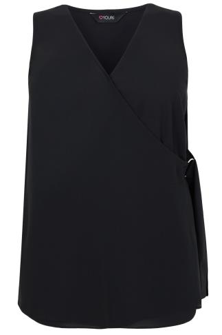 Black Wrap Front Sleeveless Blouse With D-Ring Tie