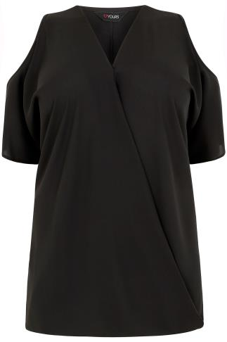 Black Wrap Front Top With Cold Shoulder Cut Outs