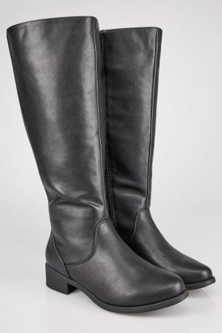 Wide Fit Boots Black XL Calf High Leg Boots With Stretch Panels In TRUE EEE Fit 154082
