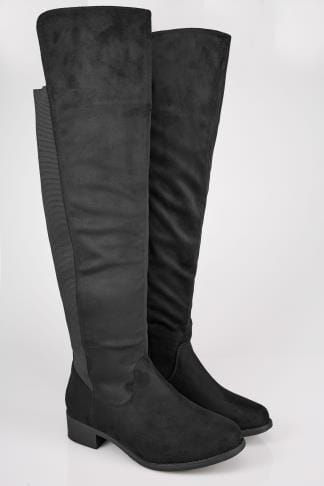 Wide Fit Boots Black XL Calf Over The Knee Boots With Stretch Panel In TRUE EEE Fit 154080