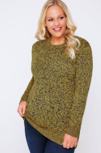 Black & Yellow Longline Twist Knit Jumper