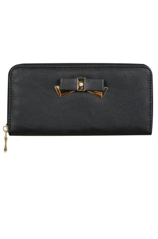 Black Zip Around Purse With Gold Bow Detail