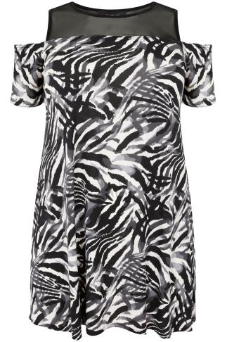 Black  & White Animal Print Cold Shoulder Top