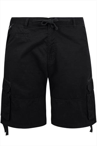 Loyalty & Faith Black Cargo Shorts With Draw-Ties And Pockets