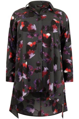 Black and Purple Floral Print Shirt With Dipped Hem