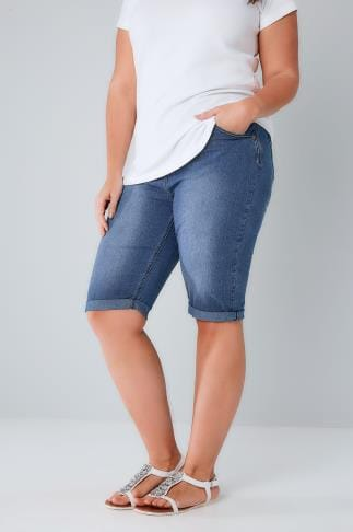 Denim Shorts Bleach Blue Long Denim Shorts 144017
