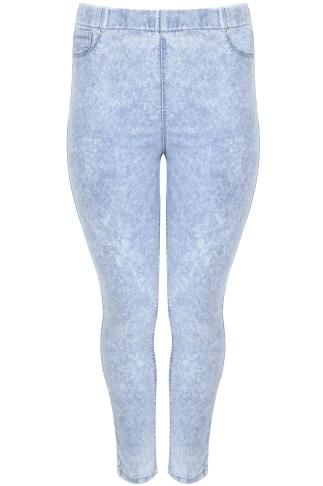 Bleach Light Blue Acid Wash Denim Jegging With Elasticated Waist