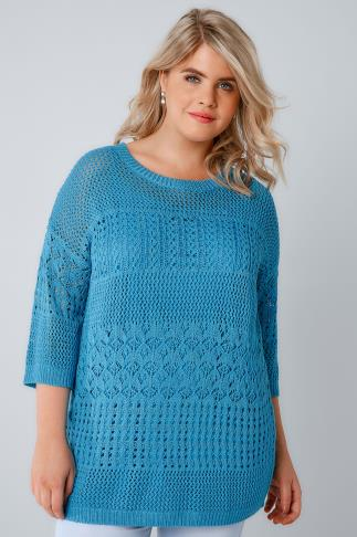 Blue 2 in 1 Crochet Knit Jumper & Cami Top 124030