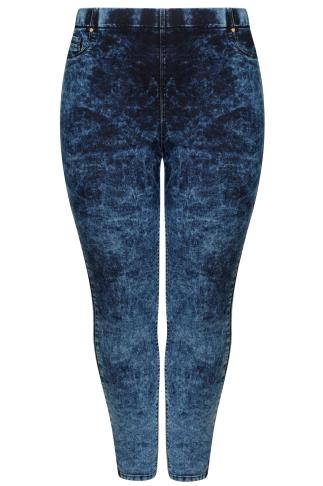 Indigo Blue Acid Wash Pull On Stretch Jeggings