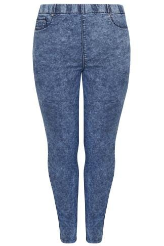 Blue Acid Wash Skinny Jeggings