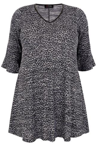 Knitted Tops Blue & Black Animal Print Top With PU Trim & Frill Cuffs 132517