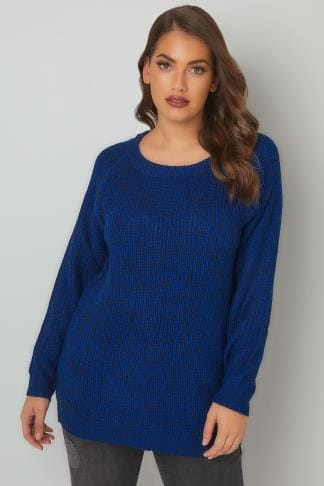 Jumpers Blue & Black Chunky Knit Jumper With Laced Sleeves 124114