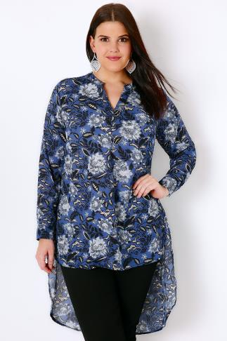 Blue & Black Floral Print Blouse With Extreme Dipped Hem