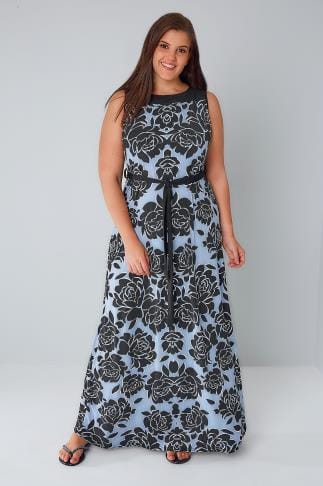 Maxi Dresses Blue & Black Sleeveless Floral Maxi Dress 156231
