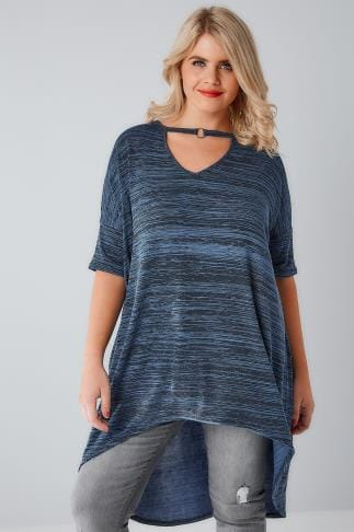 Dipped Hem Tops Blue & Black Textured Choker Neck Ring Detail Top With Extreme Dipped Hem 170241