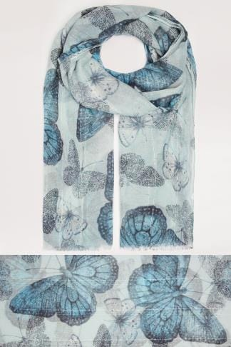 Scarves Blue Butterfly Print Scarf With Sequin Stripes 152049