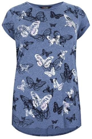 Day Tops Blue Butterfly Print T-Shirt With Foil Detail 132371