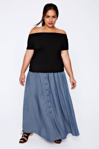 Denim Blue Tencel Maxi Skirt 101896