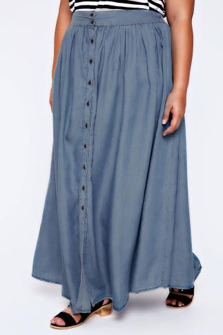 Denim Blue Tencel Maxi Skirt