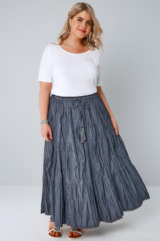 Blue Chambray Tiered Crinkle Maxi Skirt 160008