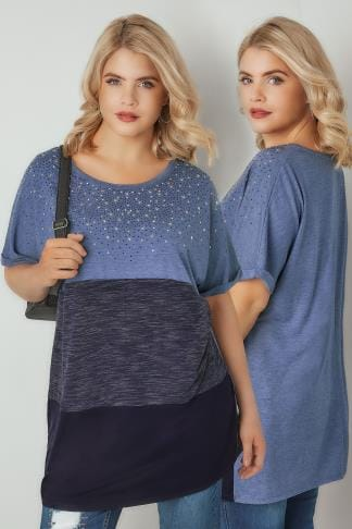 Jersey Tops Blue Colour Block Studded T-shirt With Diamante Details 132547