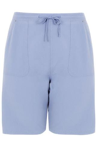 Blue Cool Cotton Pull On Shorts With Pockets