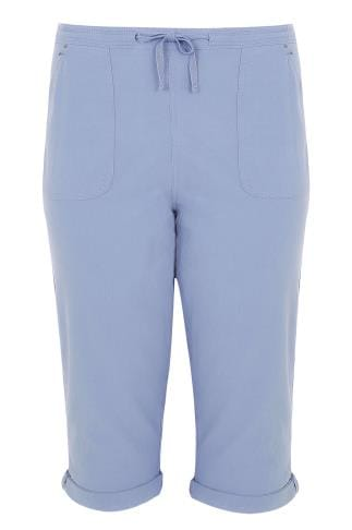 Blue Cool Cotton Pull On Tapered Cropped Trousers