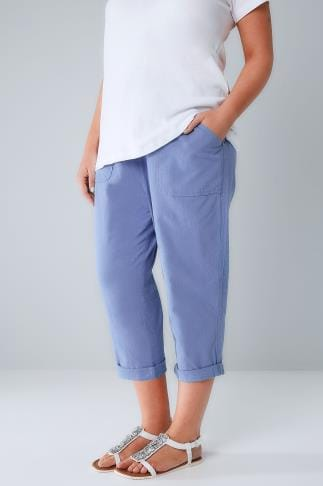 Cropped Trousers Blue Cool Cotton Pull On Tapered Cropped Trousers 144054