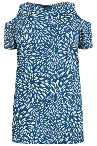 Blue & Cream Floral Petal Print Cold Shoulder Longline Top
