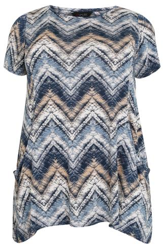Blue & Cream Mixed Zig Zag Print Hanky Hem Top With Drop Pockets