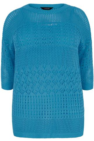 Blue 2 in 1 Crochet Knit Jumper & Cami Top