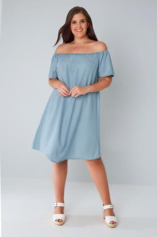 Swing & Shift Dresses Blue Denim Chambray Bardot Swing Dress 136038