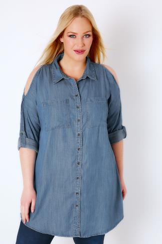 Shirts Blue Denim Cold Shoulder Chambray Shirt 130025