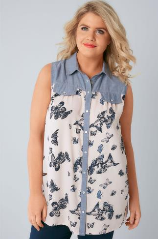 Blue Denim & Cream Butterfly Print Sleeveless Shirt 130050