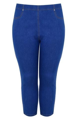 Blue Denim Cropped Jeggings With Star Details