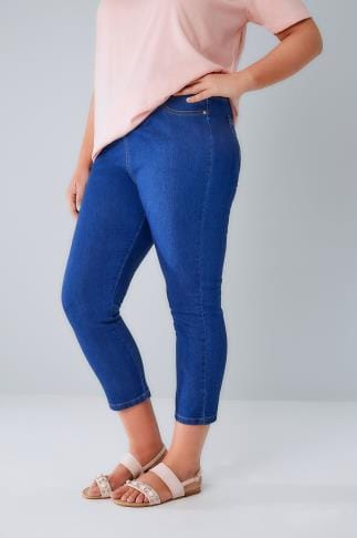 Capri Jeans Blue Denim Cropped Jeggings With Star Details 144047